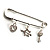 Crystal Key, Star And Heart Charm Safety Pin Brooch (Silver Tone) - view 2