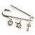 Crystal Key, Star And Heart Charm Safety Pin Brooch (Silver Tone) - view 10