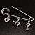 Crystal Key, Star And Heart Charm Safety Pin Brooch (Silver Tone) - view 5