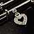 Crystal Key, Star And Heart Charm Safety Pin Brooch (Silver Tone) - view 6