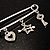 Crystal Key, Star And Heart Charm Safety Pin Brooch (Silver Tone) - view 3