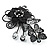 Black Crystal Filigree Flower And Butterfly Crystal Brooch (Catwalk - 2011) - view 6