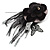 Black Feather Flower And Butterfly Fabric Hair Clip/ Brooch (Catwalk - 2014) - view 8