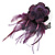 Deep Purple Feather Flower And Butterfly Fabric Hair Clip/ Brooch (Catwalk - 2014) - view 4