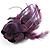 Deep Purple Feather Flower And Butterfly Fabric Hair Clip/ Brooch (Catwalk - 2014) - view 2