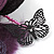 Deep Purple Feather Flower And Butterfly Fabric Hair Clip/ Brooch (Catwalk - 2014) - view 8