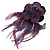 Deep Purple Feather Flower And Butterfly Fabric Hair Clip/ Brooch (Catwalk - 2014) - view 3