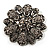 Vintage Swarovski Crystal Floral Brooch (Antique Silver) - view 1