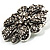 Vintage Swarovski Crystal Floral Brooch (Antique Silver) - view 3