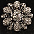 Vintage Swarovski Crystal Floral Brooch (Antique Silver) - view 2