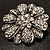 Vintage Swarovski Crystal Floral Brooch (Antique Silver) - view 8