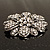 Vintage Swarovski Crystal Floral Brooch (Antique Silver) - view 7