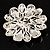 Vintage Swarovski Crystal Floral Brooch (Antique Silver) - view 5