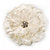 Large Snow White Crystal Fabric Rose Brooch - 13cm Diameter - view 2