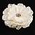 Large Snow White Crystal Fabric Rose Brooch - 13cm Diameter - view 3