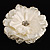 Large Snow White Crystal Fabric Rose Brooch - 13cm Diameter - view 4