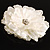 Large Snow White Crystal Fabric Rose Brooch - 13cm Diameter - view 5