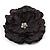 Large Black Crystal Fabric Rose Brooch - 13cm Diameter