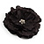 Large Black Crystal Fabric Rose Brooch - 13cm Diameter - view 2