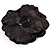 Large Black Crystal Fabric Rose Brooch - 13cm Diameter - view 6