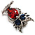 Silver Tone Stunning CZ Owl Brooch (Red & Blue) - view 6