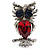 Silver Tone Stunning CZ Owl Brooch (Red & Blue) - view 1