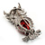 Silver Tone Stunning CZ Owl Brooch (Red & Blue) - view 8