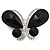 Statement Oversized Jet Black Crystal Butterfly Brooch (Silver Tone)