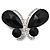 Statement Oversized Jet Black Crystal Butterfly Brooch (Silver Tone)