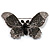 Gigantic Pave Swarovski Crystal Butterfly Brooch (Clear&Black)