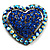 Bronze Tone Dazzling Diamante Heart Brooch (Navy Blue)