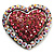 Bronze Tone Dazzling Diamante Heart Brooch (Pink)