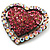 Bronze Tone Dazzling Diamante Heart Brooch (Pink) - view 2