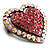 Bronze Tone Dazzling Diamante Heart Brooch (Pink) - view 3