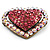 Bronze Tone Dazzling Diamante Heart Brooch (Pink) - view 5