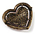 Bronze Tone Dazzling Diamante Heart Brooch (Pink) - view 6