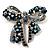 Stunning Navy Blue Swarovski Crystal Bow Brooch (Silver Tone)