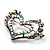 Tiny Open Crystal 'Heart in Heart' Brooch (Silver Tone) - view 3