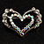 Tiny Open Crystal 'Heart in Heart' Brooch (Silver Tone) - view 2