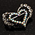 Tiny Open Crystal 'Heart in Heart' Brooch (Silver Tone) - view 4