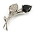 Exquisite Black CZ Floral Brooch (Silver Tone) - view 2