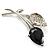Exquisite Black CZ Floral Brooch (Silver Tone)