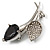 Exquisite Black CZ Floral Brooch (Silver Tone) - view 3