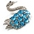 Rhodium Plated Diamante Swan Brooch (Sea Blue & Clear) - view 2