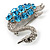 Rhodium Plated Diamante Swan Brooch (Sea Blue & Clear) - view 3