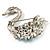 Rhodium Plated Diamante Swan Brooch (Sea Blue & Clear) - view 4