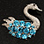 Rhodium Plated Diamante Swan Brooch (Sea Blue & Clear) - view 5
