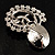 Ash Grey Crystal Floral Brooch (Silver Tone) - view 6