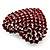 Burgundy Red Diamante Heart Brooch (Silver Tone) - view 3
