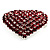 Burgundy Red Diamante Heart Brooch (Silver Tone) - view 4